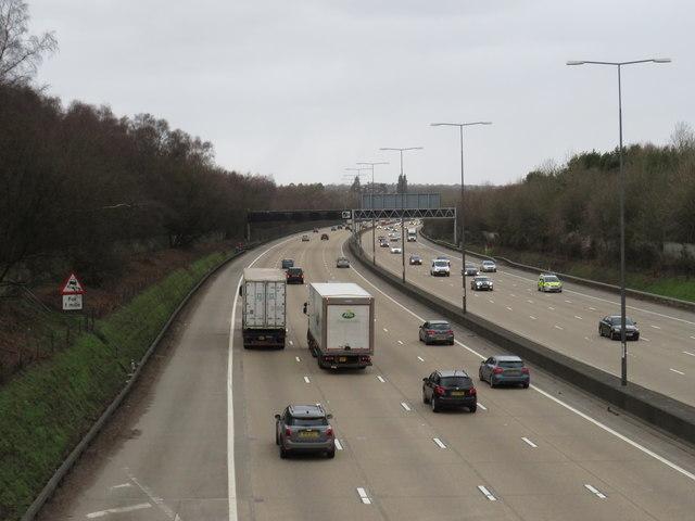 M25 motorway near Reigate