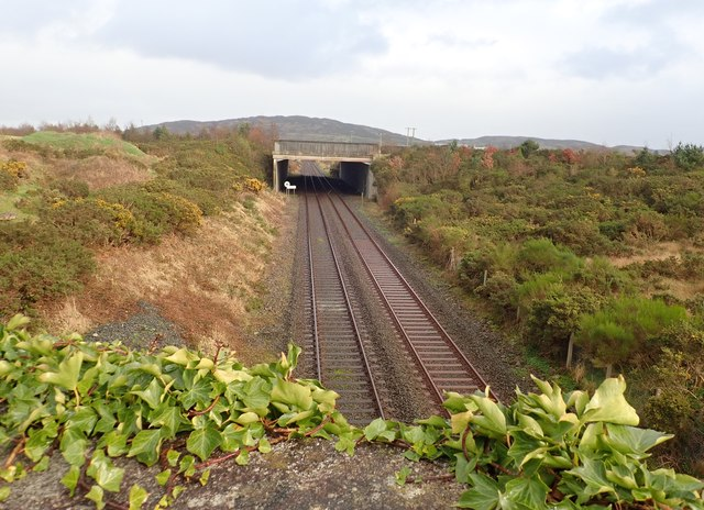 The stretch of railway line between Newtown Bridge and the A1 bridge South of Cloghoge