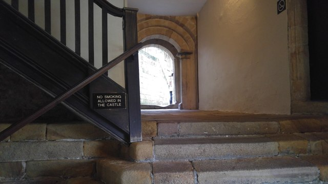 Steps and Norman doorway at entrance to the Inner Ward, Skipton Castle