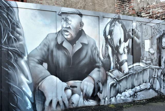 Decorated hoarding, Gresham Street, Belfast (February 2019)