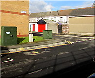 ST0894 : Two green cabinets, Station Road, Abercynon by Jaggery