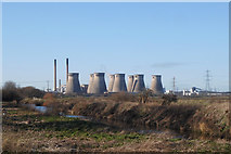 "SE4724 : Ferrybridge""C"" power station (disused) and the river Aire by derek dye"