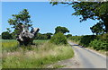 TM5183 : Country lane and the Suffolk Coast Path by Mat Fascione