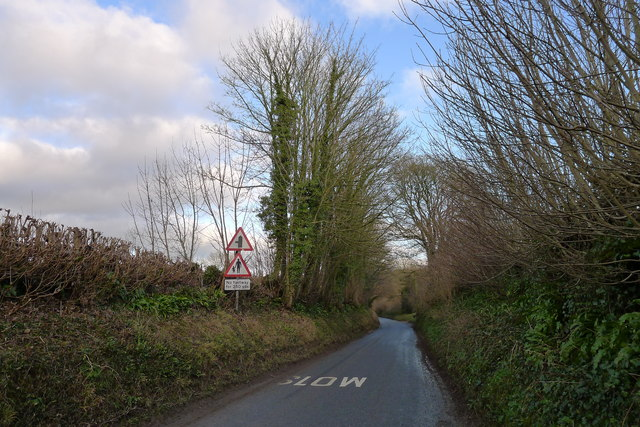 Approaching Cerne Abbas on Sydling Road