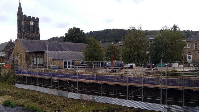 Construction of new flood defence wall near St Michael's Church, Mytholmroyd