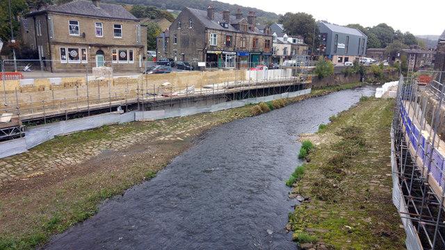 River Calder, Mytholmroyd, downstream of County Bridge