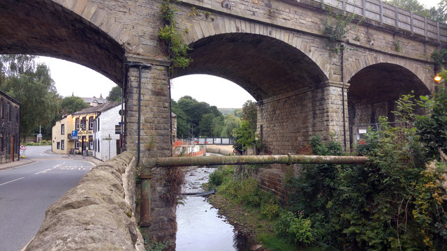 Cragg Brook downstream of the railway viaduct, Mytholmroyd