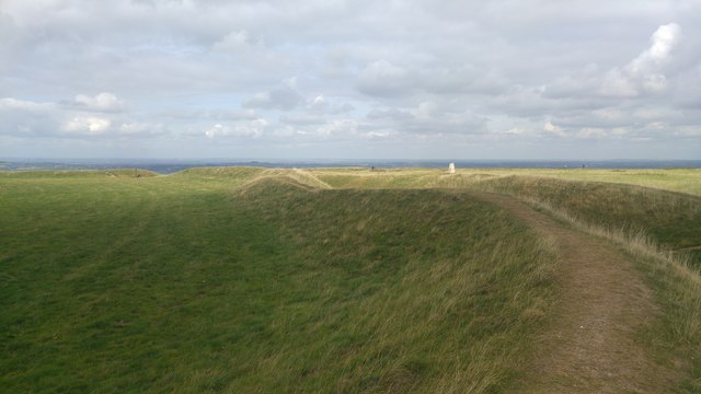 Ramparts on the east side of Uffington Castle Iron Age hillfort