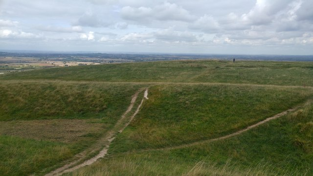 View from the ramparts of Uffington Castle towards the White Horse