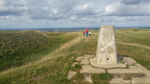 Trig point on the ramparts of Uffington Castle Hill Fort, White Horse Hill.