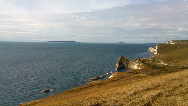 View towards Man o' War Cove, Durdle Door and Swyre Head