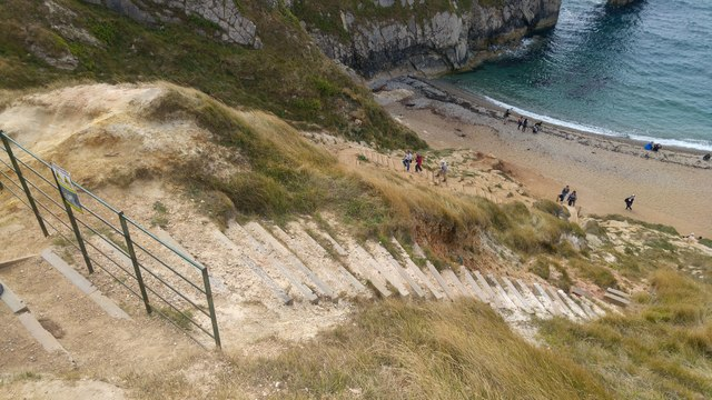 Old steps down to the beach at Durdle Door