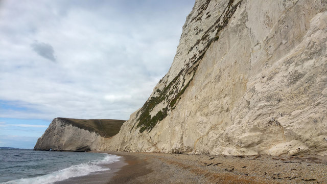 Beach and chalk cliffs below Swyre Head, Dorset