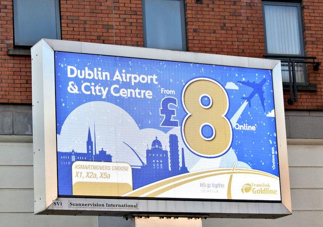 Ulsterbus Dublin express advertisement, Belfast (February 2019)