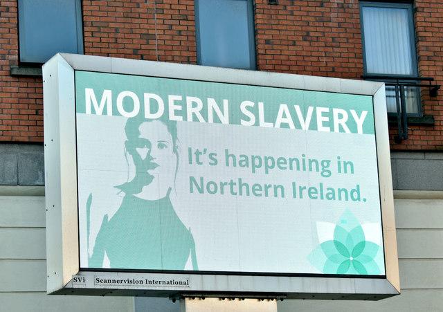 """Modern slavery"" advertisement, Belfast (February 2019)"