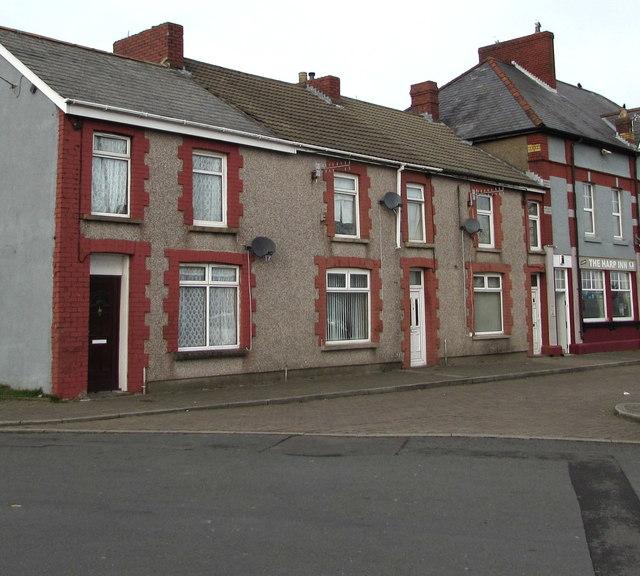 Row of three houses near the Harp Inn, Gelligaer