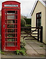 SO2320 : Red phonebox detail, Llanbedr, Powys by Jaggery