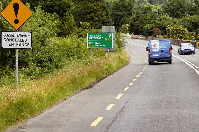 Northbound N25 near Dungarvan Golf Club