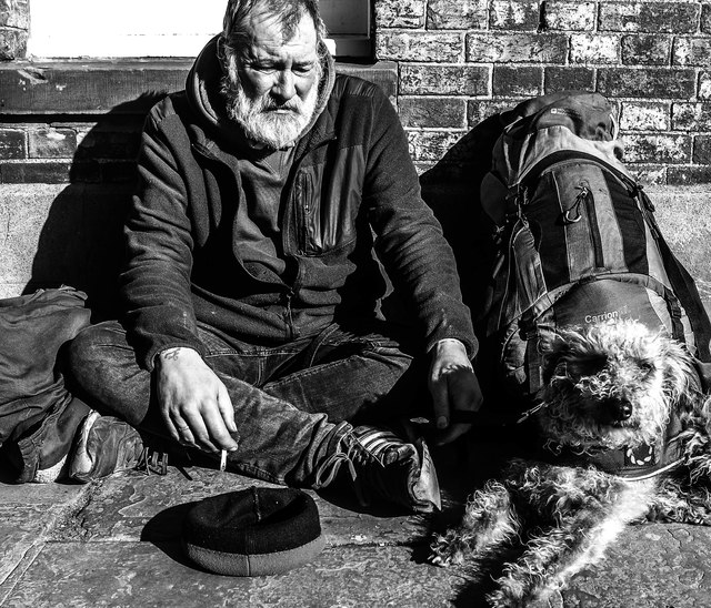 Homeless man and Buffy the dog. Westgate, Canterbury