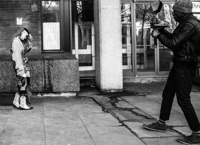 London Fashion Week photo shoot, The Strand, London