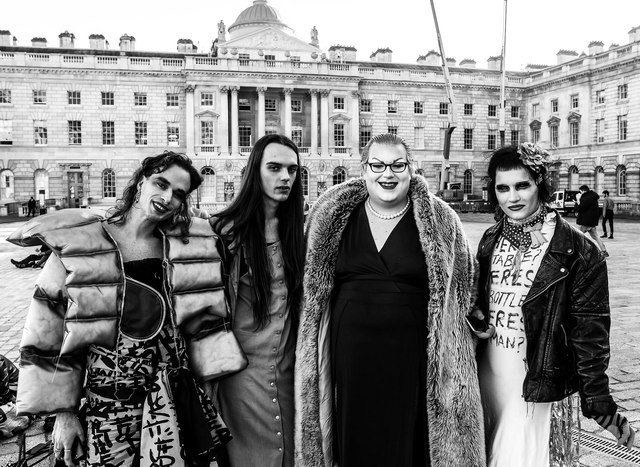 Trans activists protest London Fashion Week, Somerset House