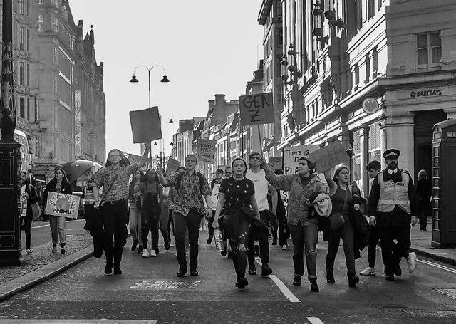 School children protest climate change, London