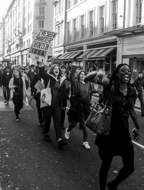 Protest march, The Strand, London