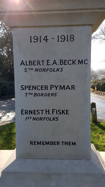 Names of the fallen on the Seething war memorial 3