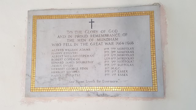 War memorial inside St Peter's church, Mundham