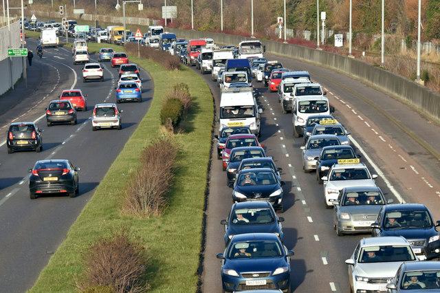Traffic queue, Sydenham bypass (February 2019)