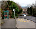 ST1396 : Bus stop and shelter at the NE edge of Gelligaer by Jaggery