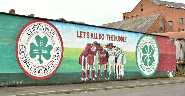 Cliftonville and Celtic mural, Belfast (February 2019)