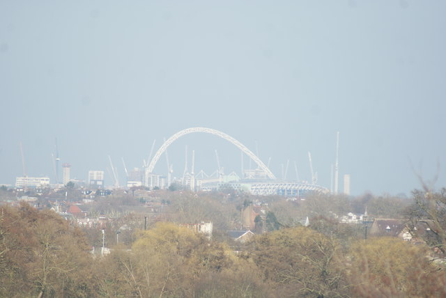 View of Wembley Stadium from the Osterley Lane bridge over the M4