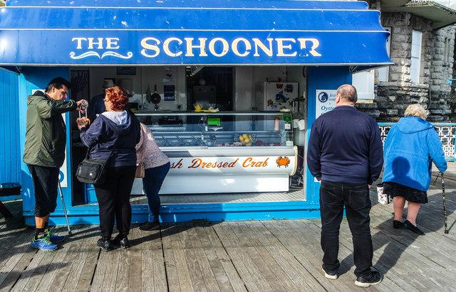 The Schooner seafood stall, Llandudno Pier