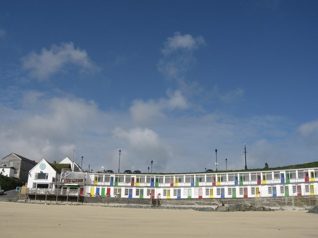 Beach chalets at Porthgwidden