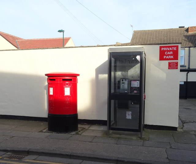 Double Elizabeth II postbox and telephone box on Cleveland Street, Redcar