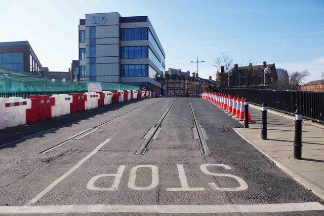 End of tram tracks on Railway Drive (February 2019), Wolverhampton