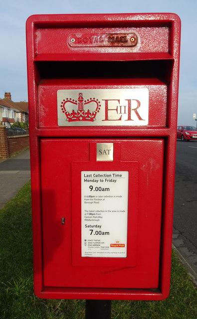 Close up, Elizabeth II postbox on Coast Road, Redcar