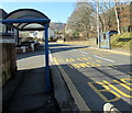 ST0896 : Two blue bus shelters in Edwardsville by Jaggery