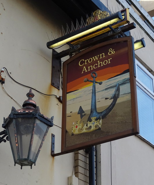 Sign for the Crown & Anchor public house, Redcar
