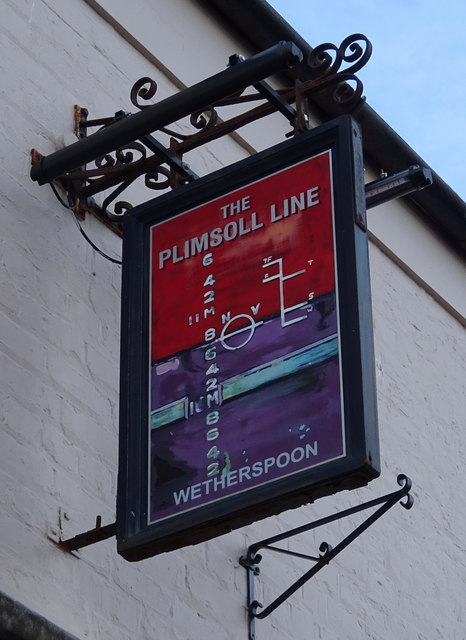 Sign for the Plimsoll Line public house, Redcar