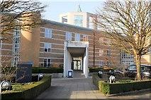 TL4359 : Entrance to the Moller Centre, Churchill College by Jim Barton