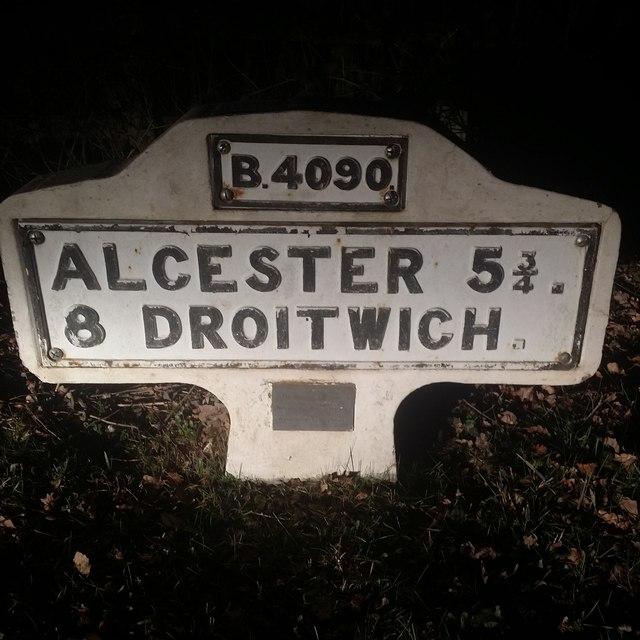 Worcestershire Milestone on Salt Way, Feckenham