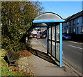 SO0504 : Bench and blue bus shelter, Plymouth Street, Merthyr Tydfil by Jaggery