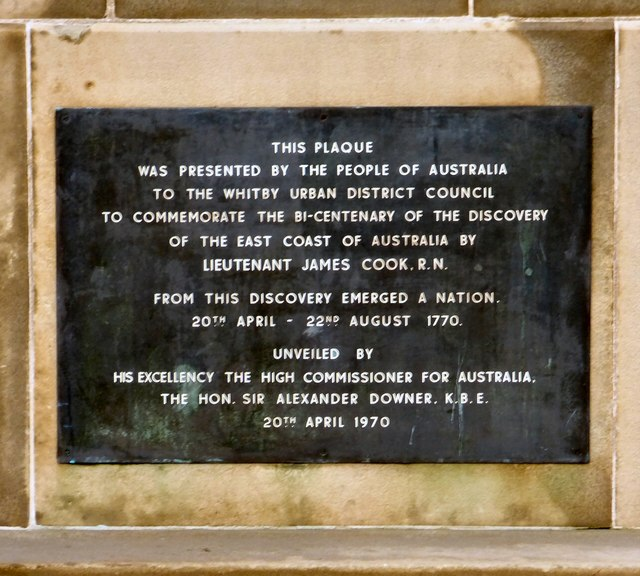 Statue of Captain Cook: Plaque on south face