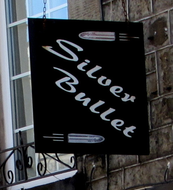 Silver Bullet name sign, Troedyrhiw by Jaggery