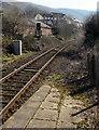 SO0702 : 40 sign facing Troed-y-Rhiw railway station by Jaggery