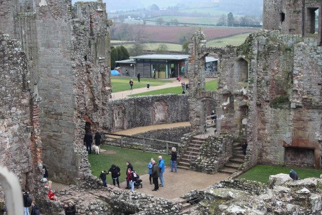 View towards visitor centre, Raglan Castle