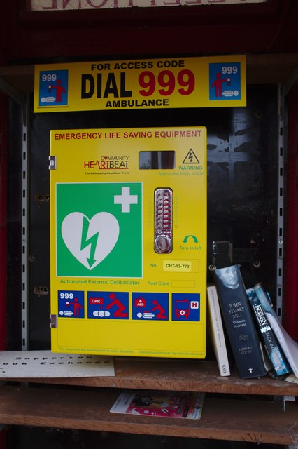 Defibrillator in former phone box