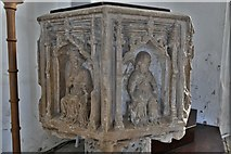 TM5286 : Kessingland, St. Edmund's Church: The font 4 by Michael Garlick